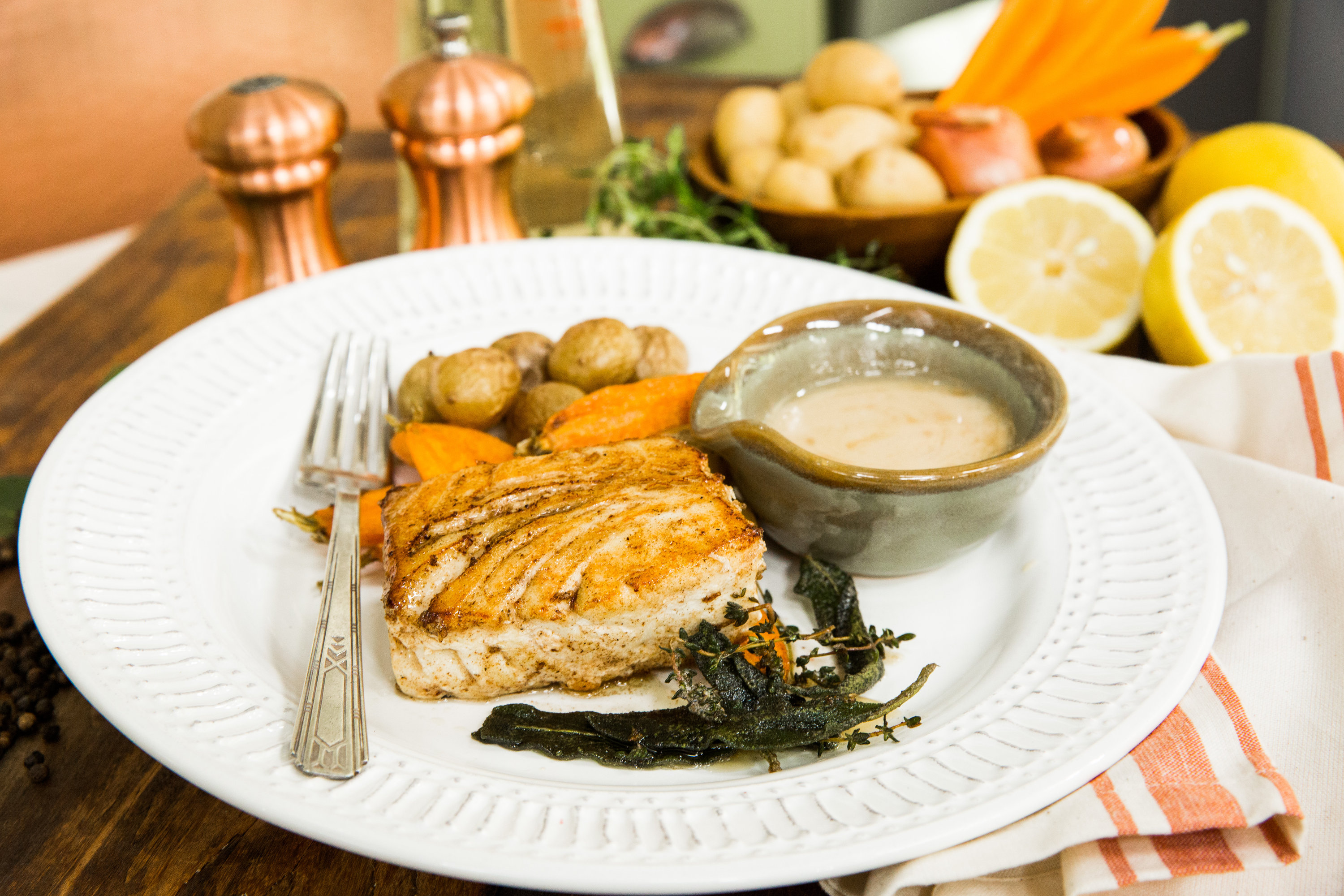 recipes - grilled halibut with beurre blanc sauce | home & family