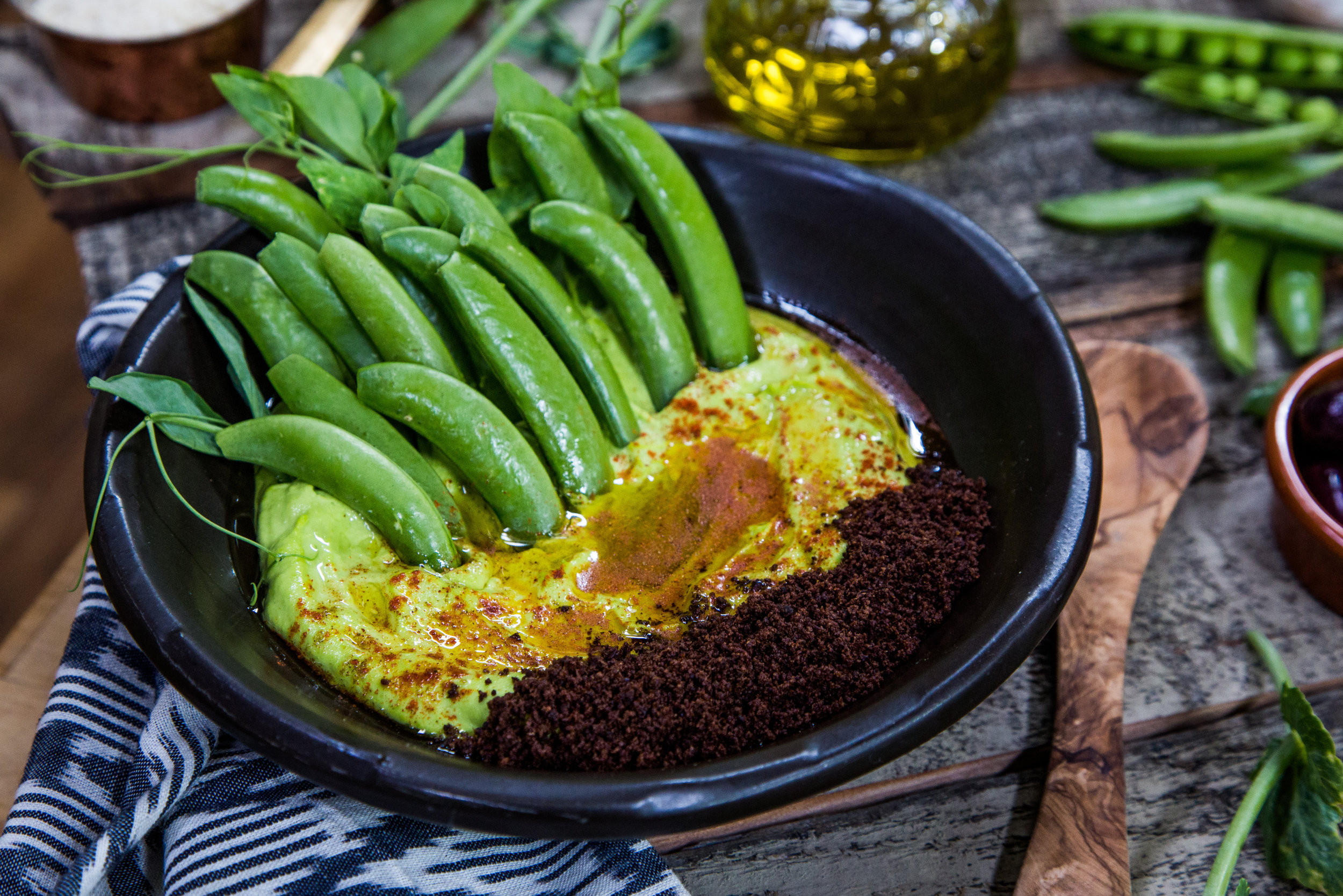 Recipes - Spring Pea Hummus with Black Olive Croutons | Home & Family ...