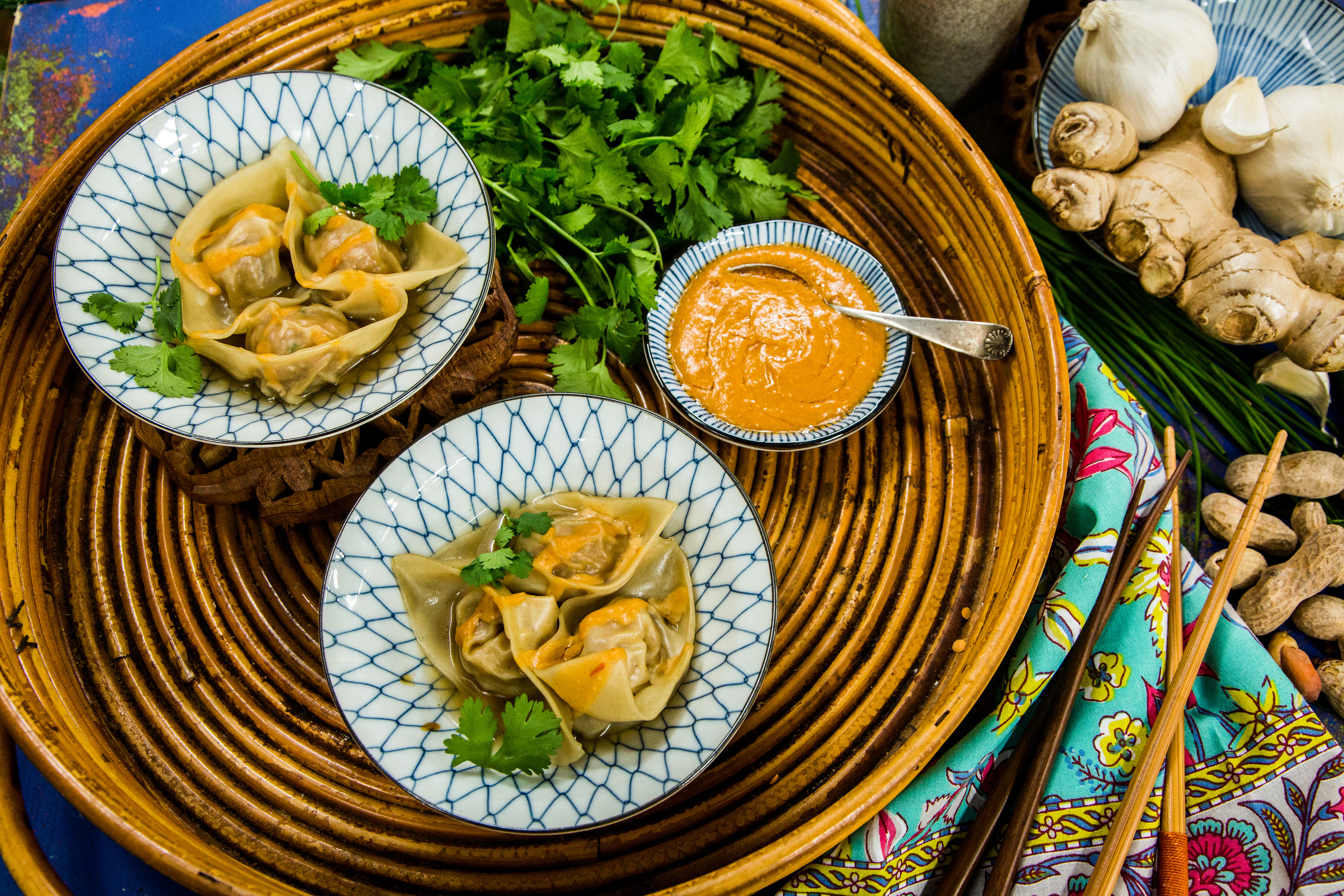 Asian hallmark channel pork and shrimp wontons with spicy peanut sauce forumfinder Image collections