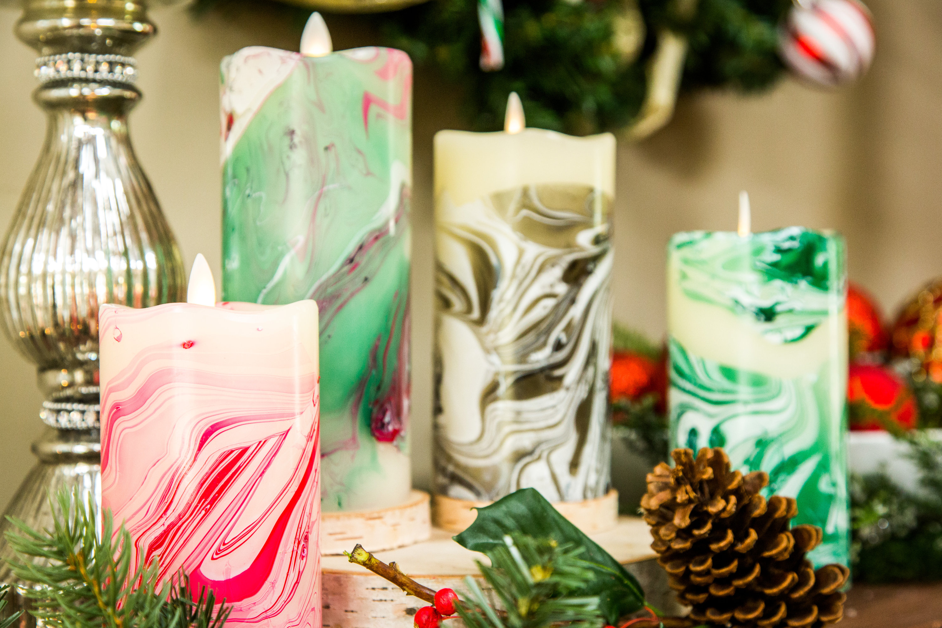 how to diy marble christmas candle hallmark channel