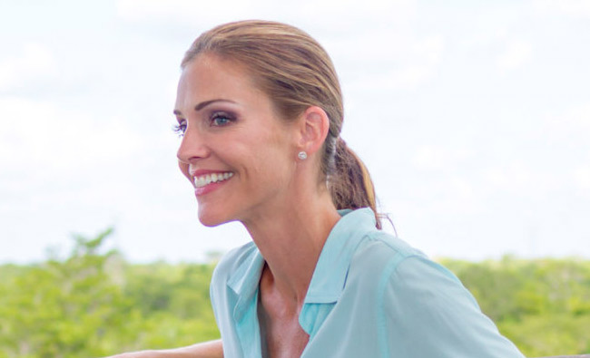 tricia helfer on sun  sand and romance