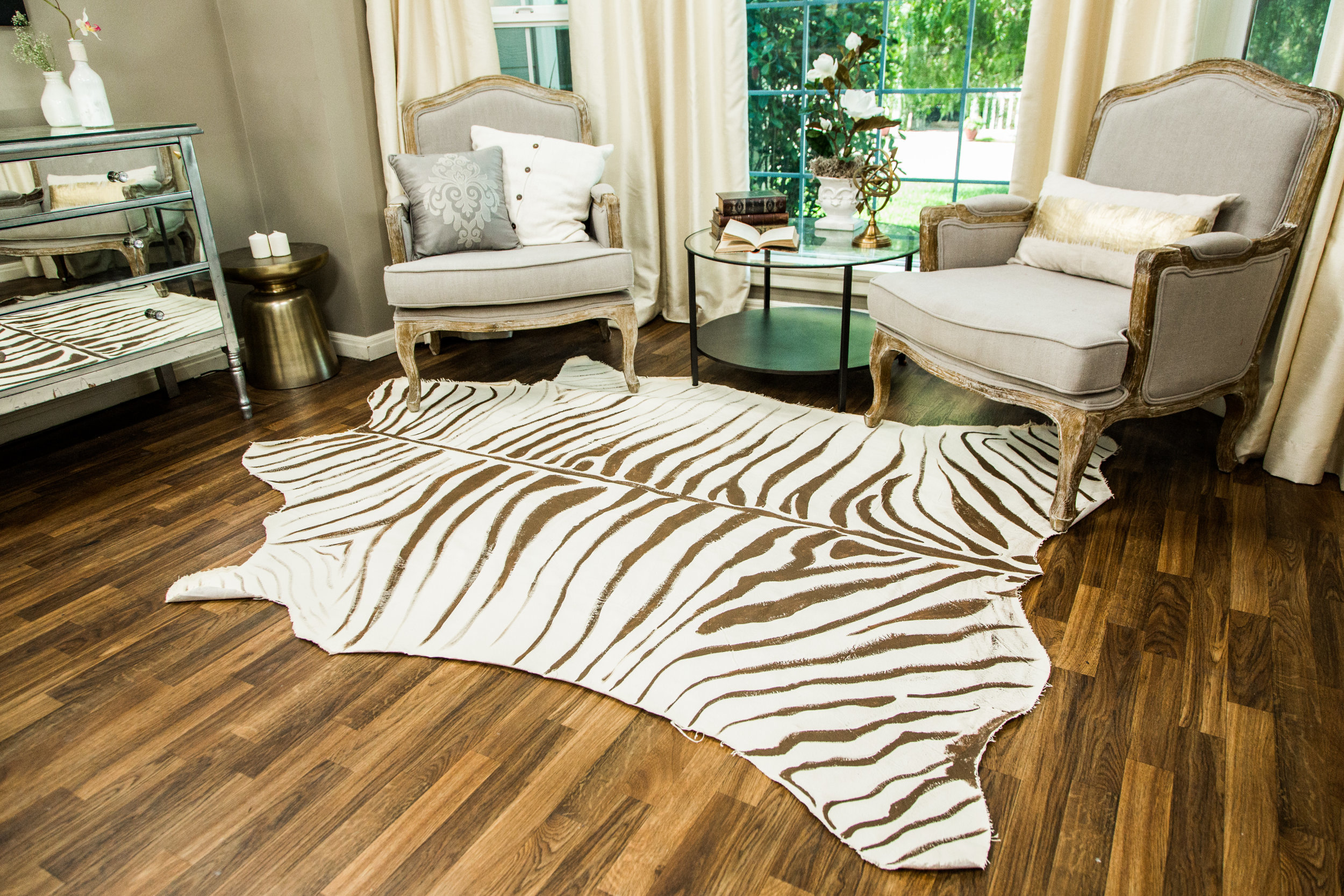leopard print rug living room how to diy faux zebra rug home amp family hallmark channel 19554