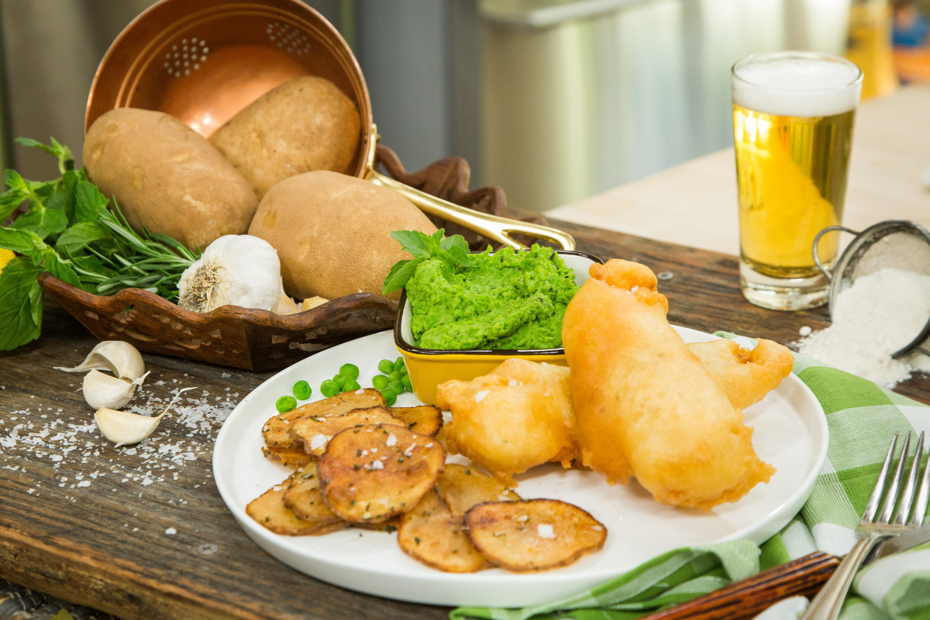 Recipes Beer Batter Fish With Rosemary Roast Chips And