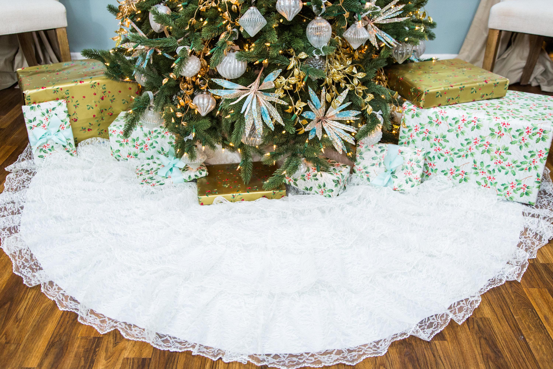 Christmas Tree Skirt Out Of Wedding Dress | Christmasnatal.org