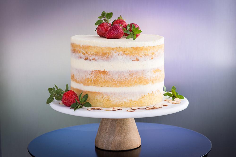 Almond Wedding Cake.Honey Almond Cake With Berries And Mascarpone Creme Fraiche