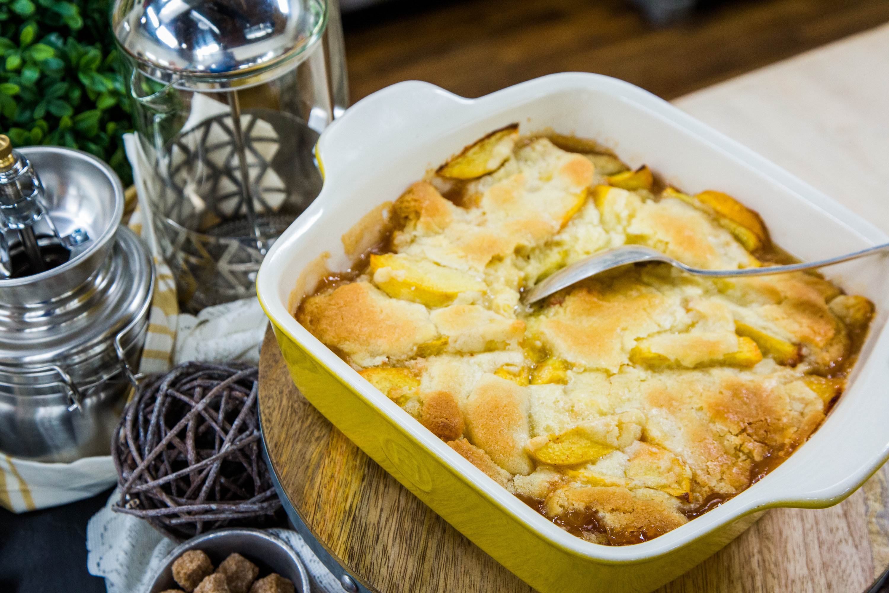 Almond Cookie Topped Peach Cobbler