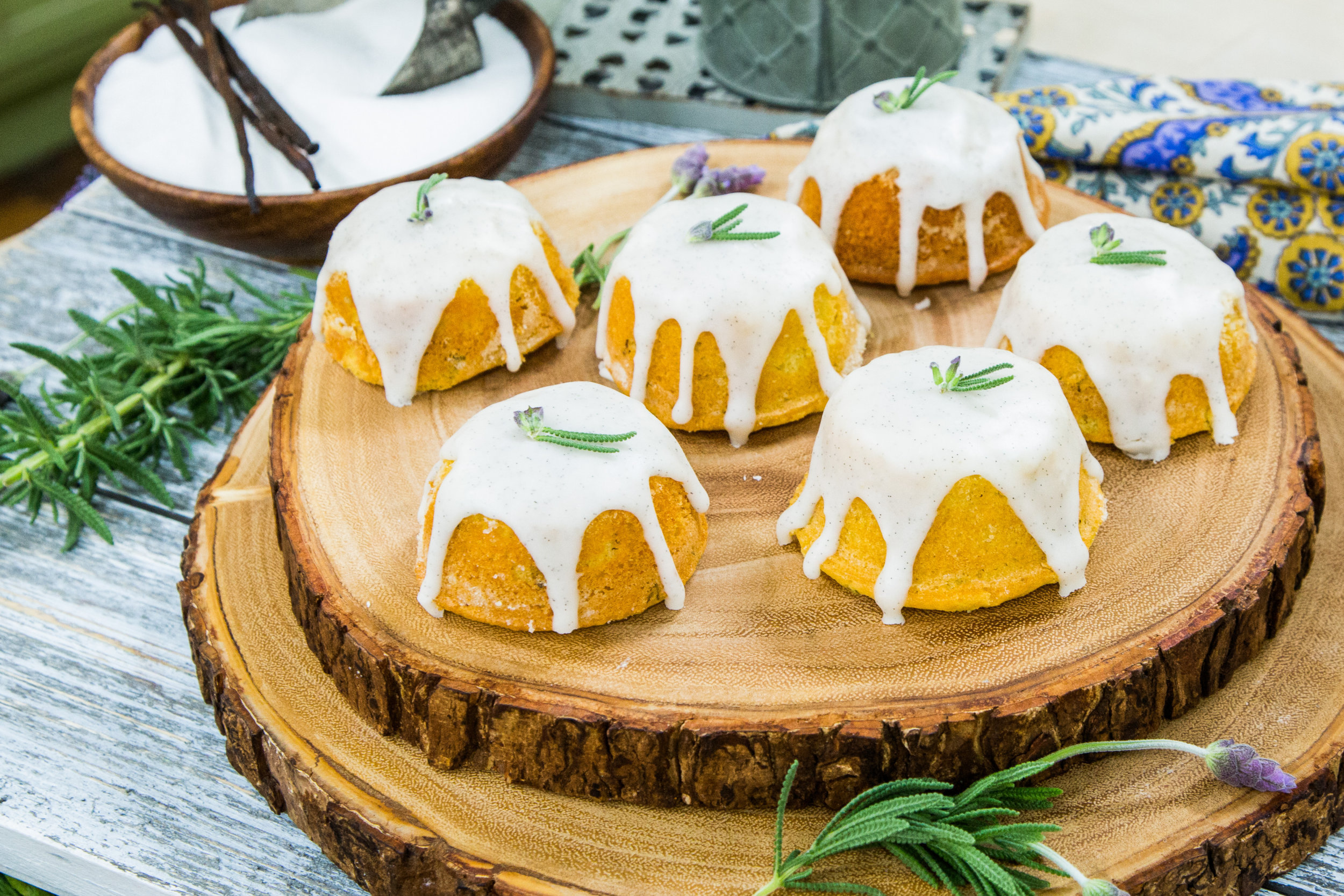 Home Amp Family Lavender Tea Cakes With Vanilla Bean Glaze